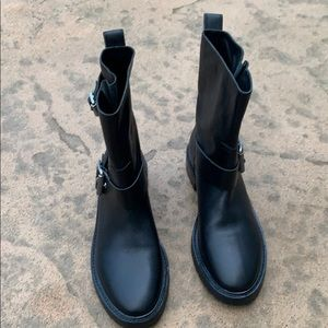 Rag & Bone Cannon Black Leather Moto Boots Size 11